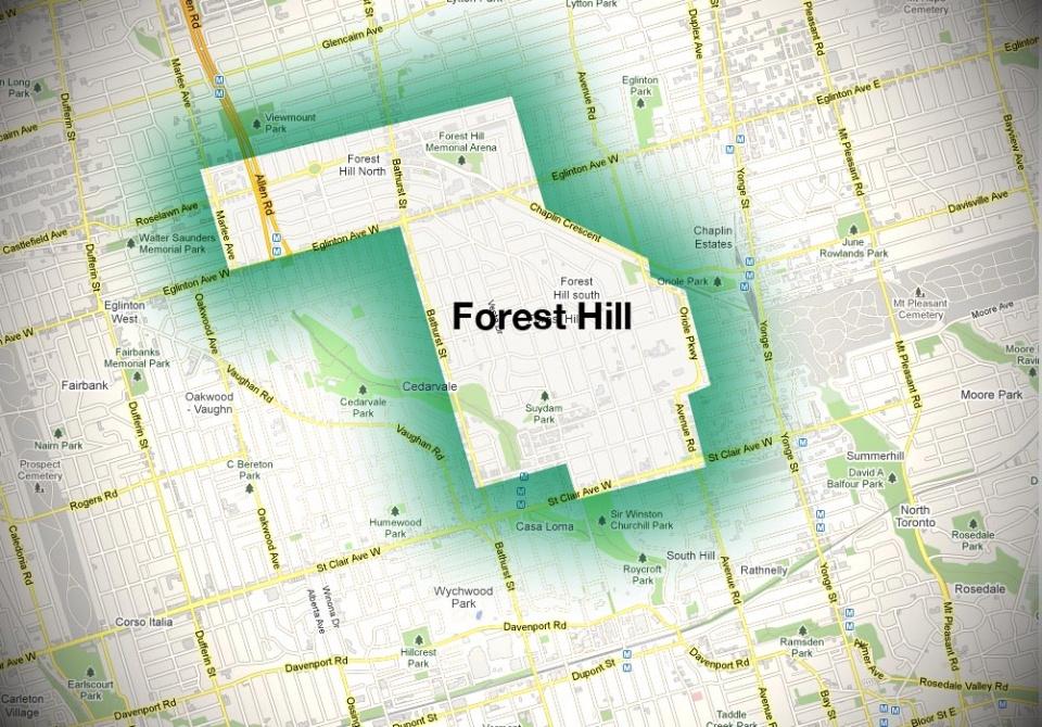 Map of Forest Hill Neighbourhood
