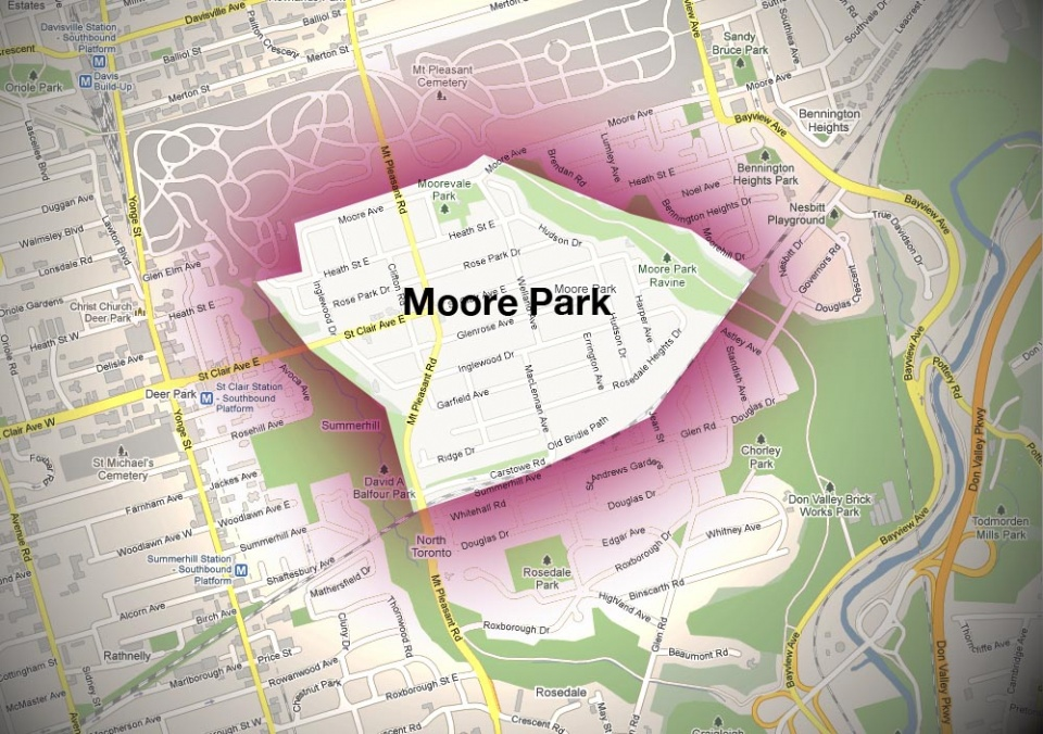 Map of Moore Park Neighbourhood