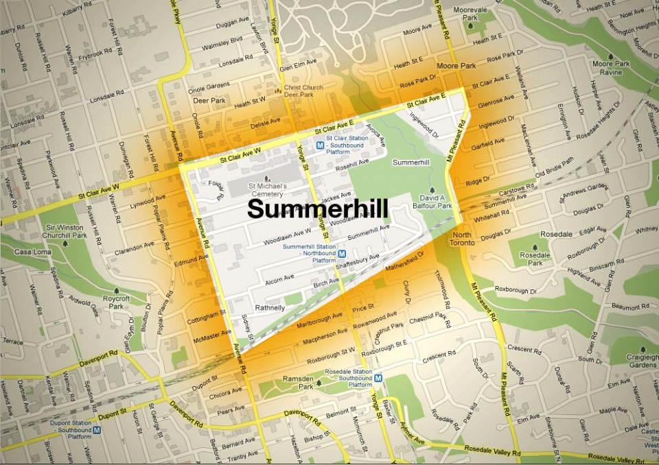 Map of Summerhill Neighbourhood
