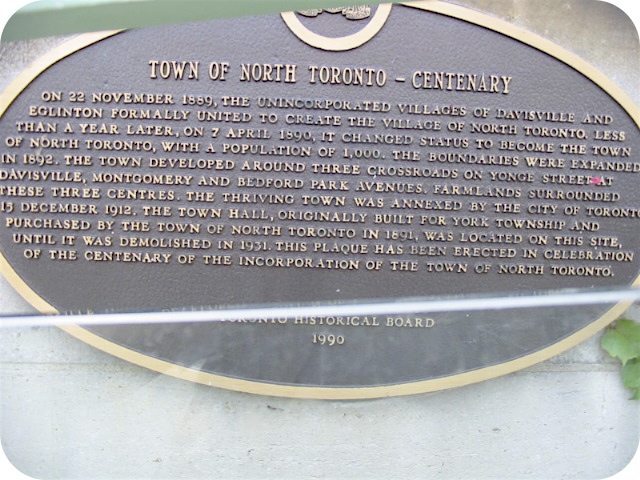 Town of North Toronto Plaque
