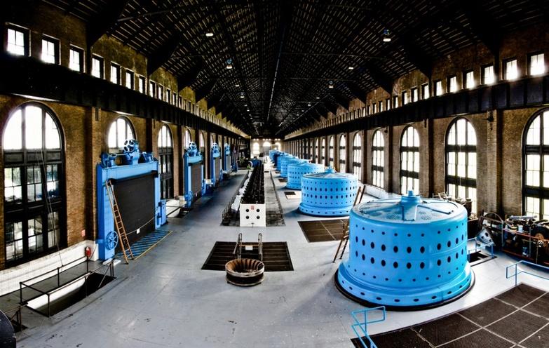 Blue turbines at Rankine Station
