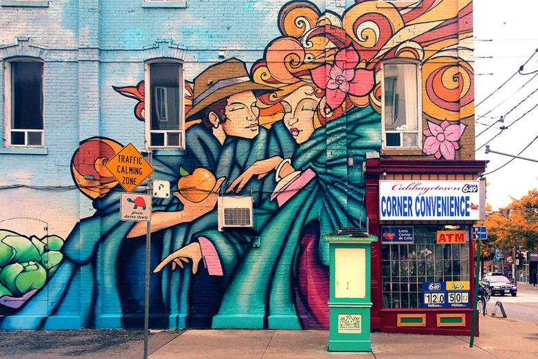 Graffiti wall at convenience store Cabbagetown