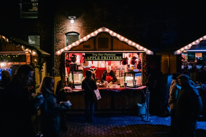 Christmas market stalls at night