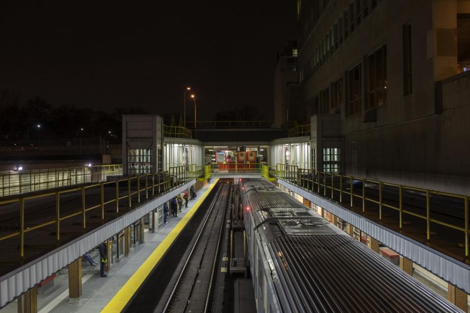 Overlooking TTC station at night