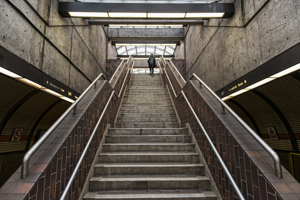 Subway stairs Glencairn Station in Toronto