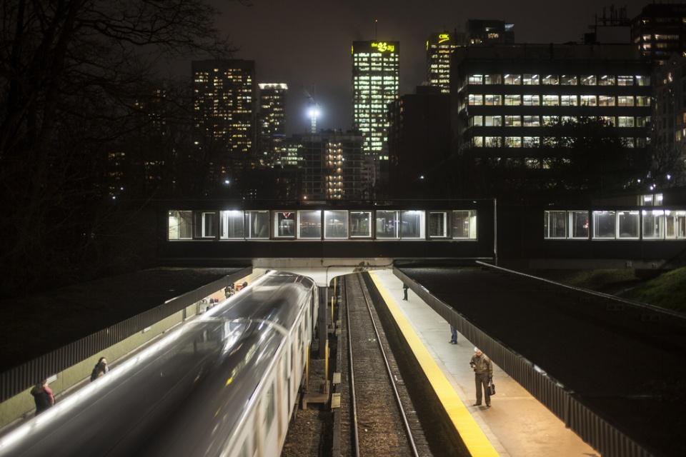 TTC Rosedale Station at night