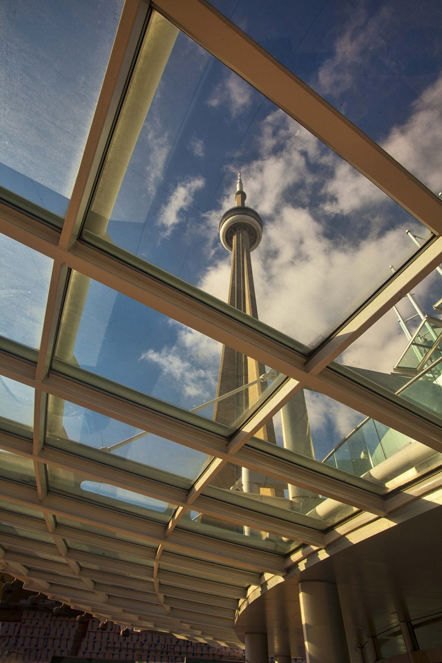 Toronto CN Tower Through Glass