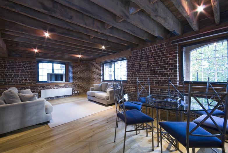 Loft with exposed brickwall