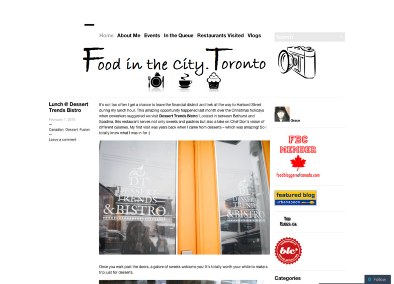 Food in the city Toronto