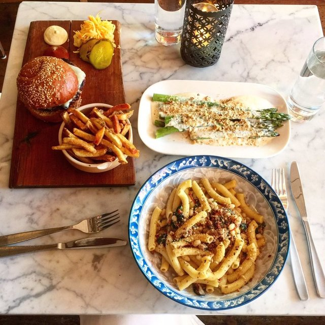 Harbord Room Burger pasta and grilled asparagus by SY