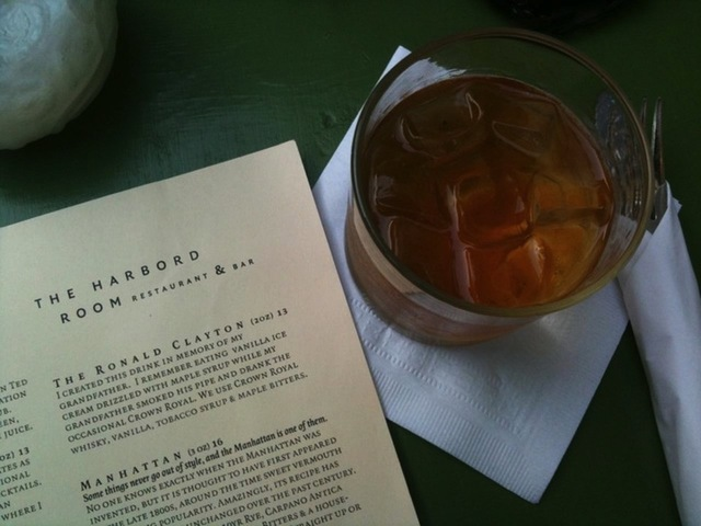 Harbord Room menu drink