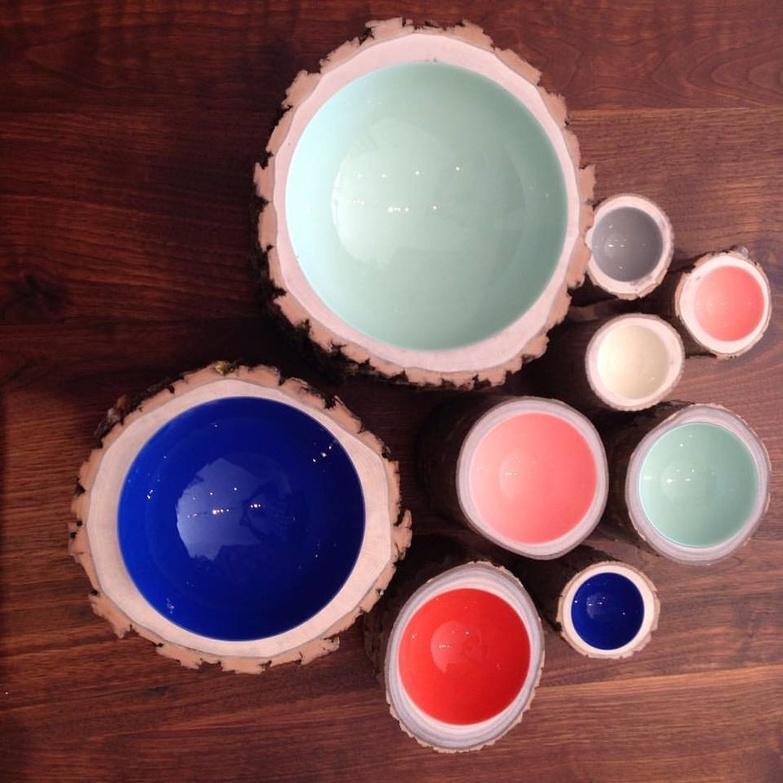 Made log bowls
