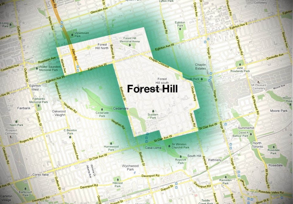 Map of Forest Hill Neighbourhood