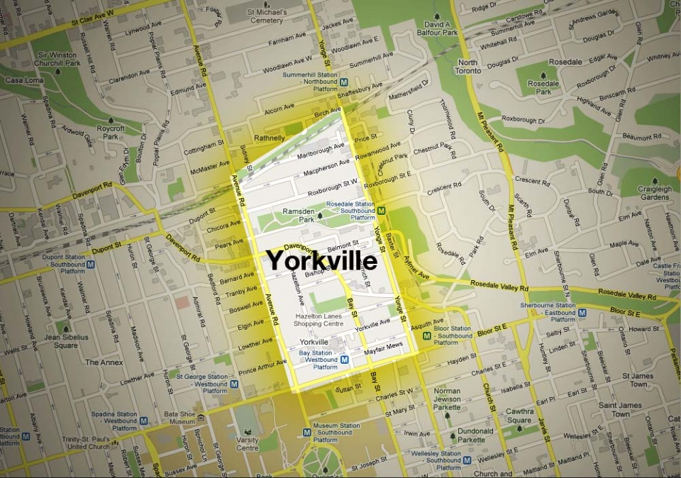 Map of Yorkville Neighbourhood