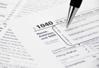 Tax Form Being Filled Out