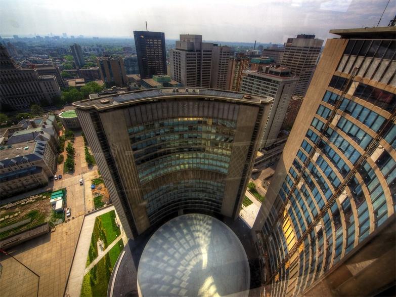 Toronto City Hall with fisheye