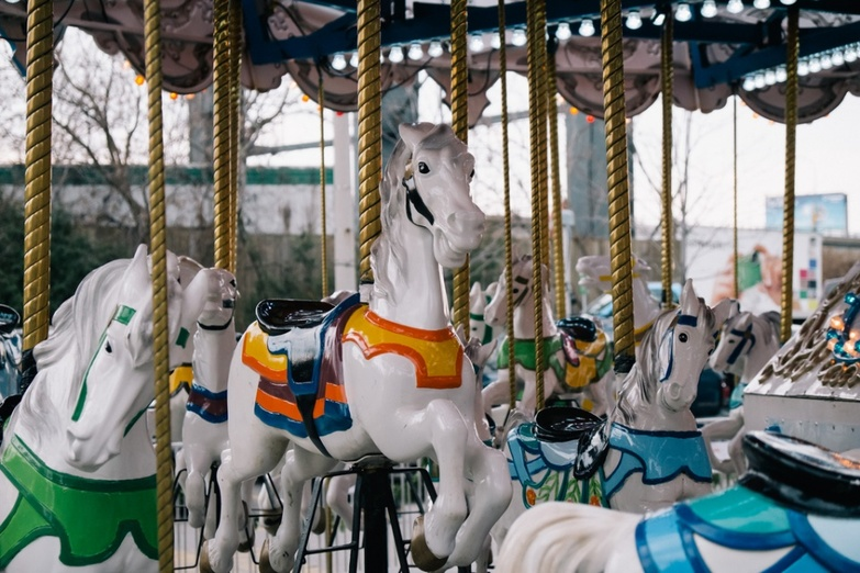 White horses on a carousel