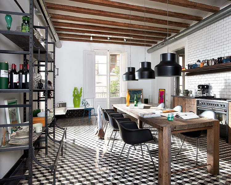 Rustic Table In Modern Kitchen By Loft I Love