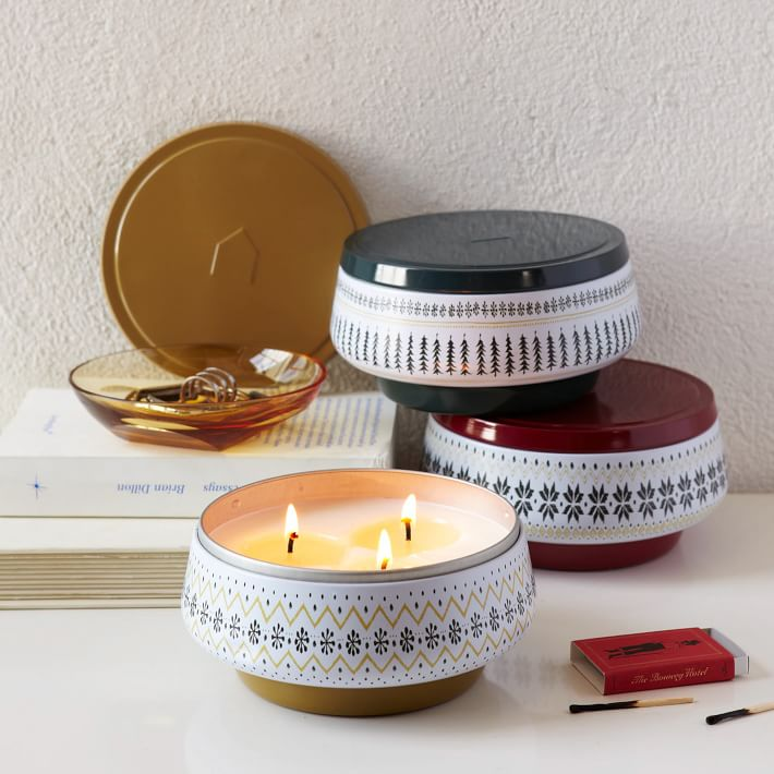 Decorator Printed Tin Candle