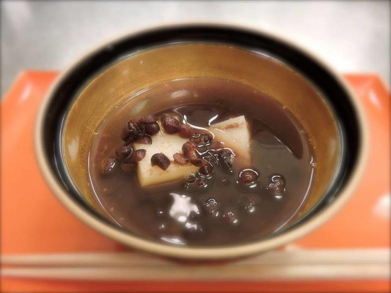 Kaiseki Oshiruko Warm sweet red beans and Mochi