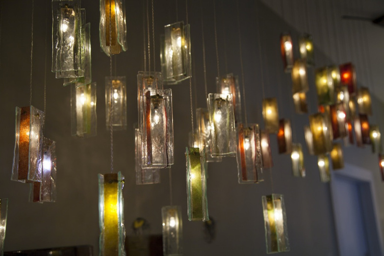 AM studio colorful chandelier