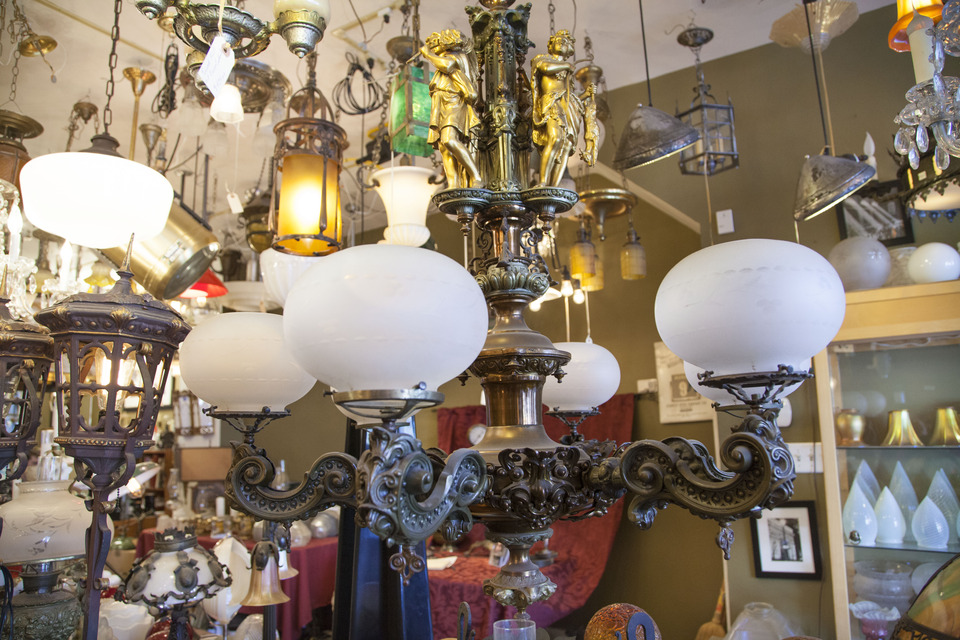 Fully restored and functional gas chandelier from the 1800s