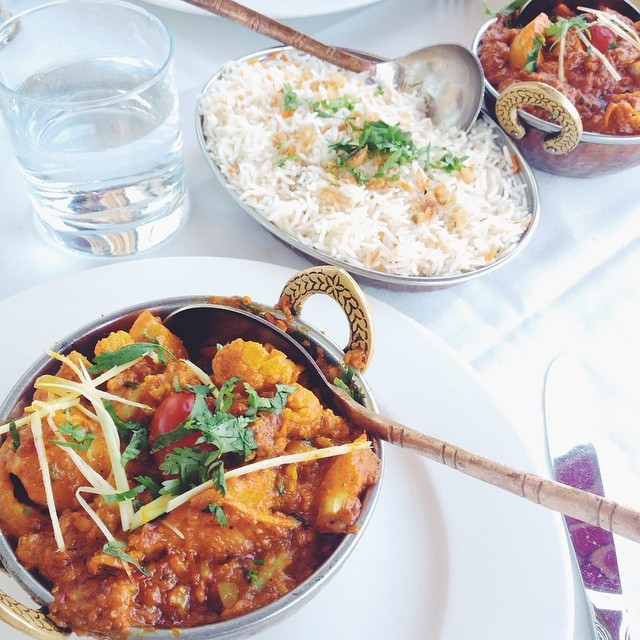 Aloo Gori Chicken Tikka Masala Long Grain Basmati Rice Garlic and Plain Naan by Beck Lloyd