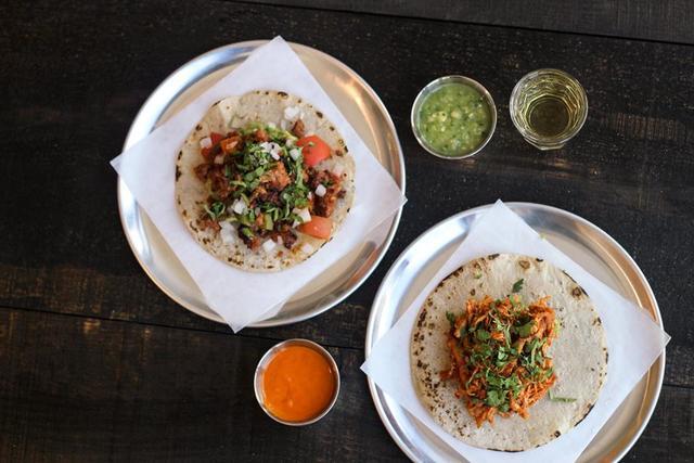 Campechano Chorizo and Tinga de pollo tacos