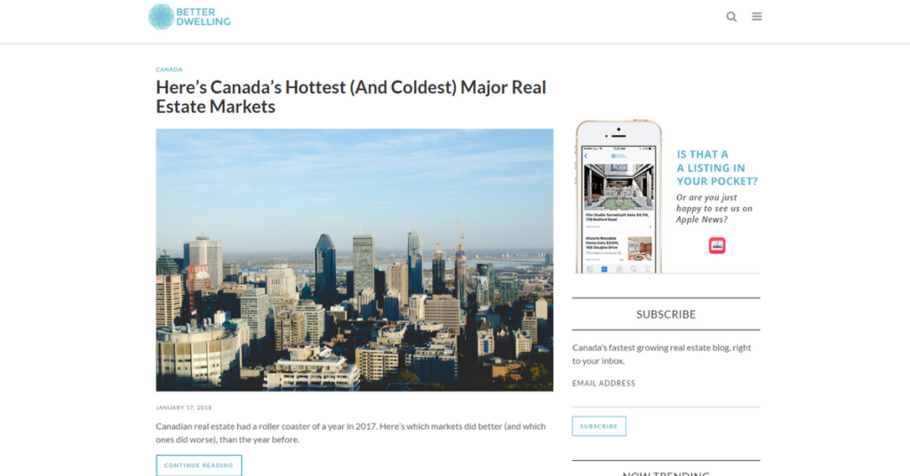 Top 3 Canadian Real Estate Blog in 2017