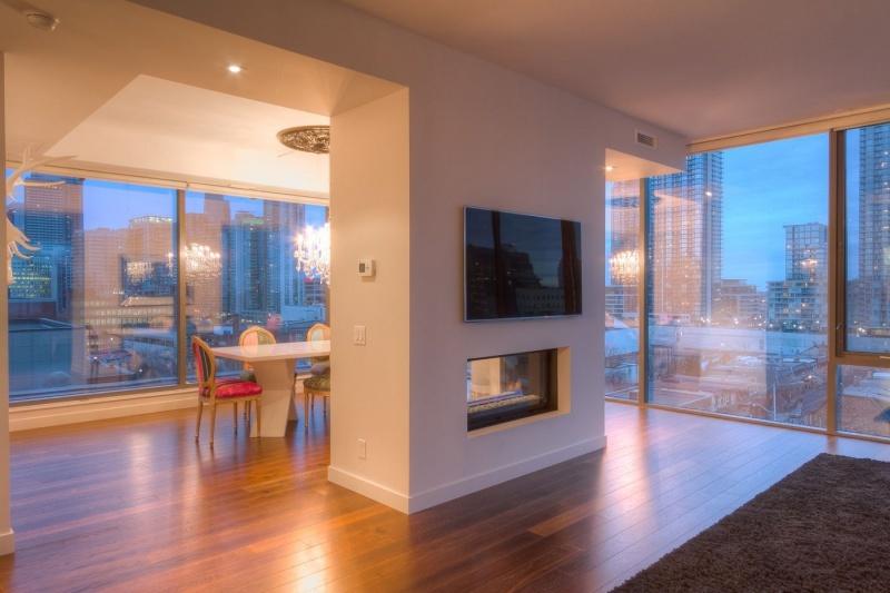 living room dining room twilight shoot