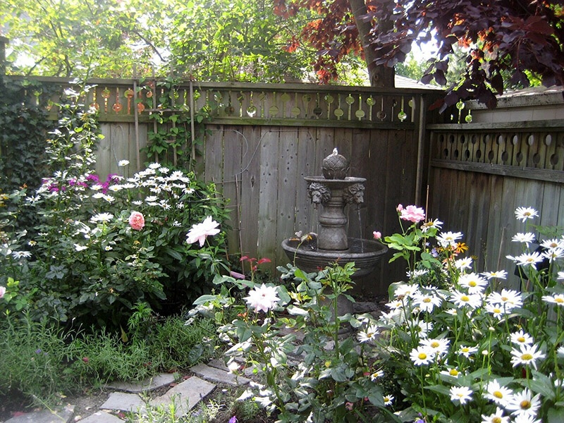 garden with fountain aug 09